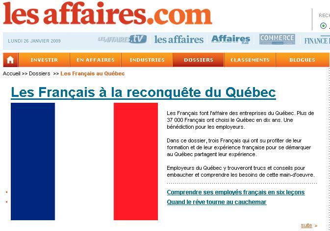 """Quand le journal Les Affaires titre """"Les Français font l'affaire des entreprises du Québec"""" (1)"""