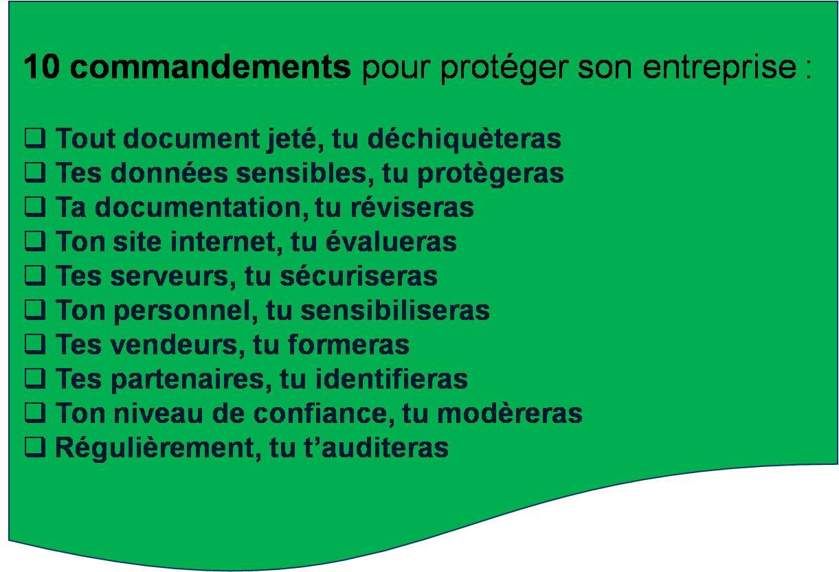 Les 10 commandements de la protection en entreprise