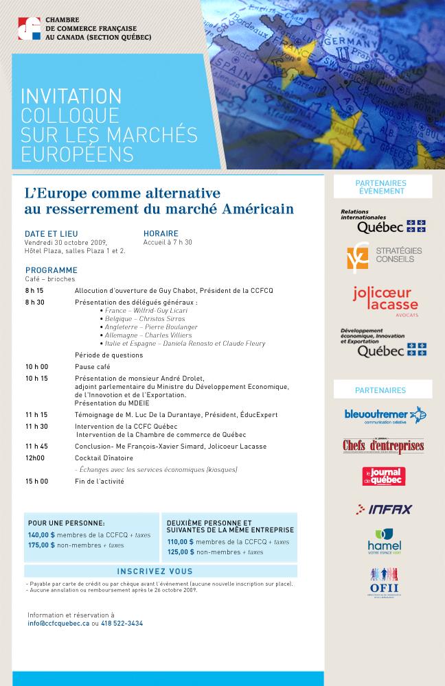 """Colloque """"marchés européens"""""""