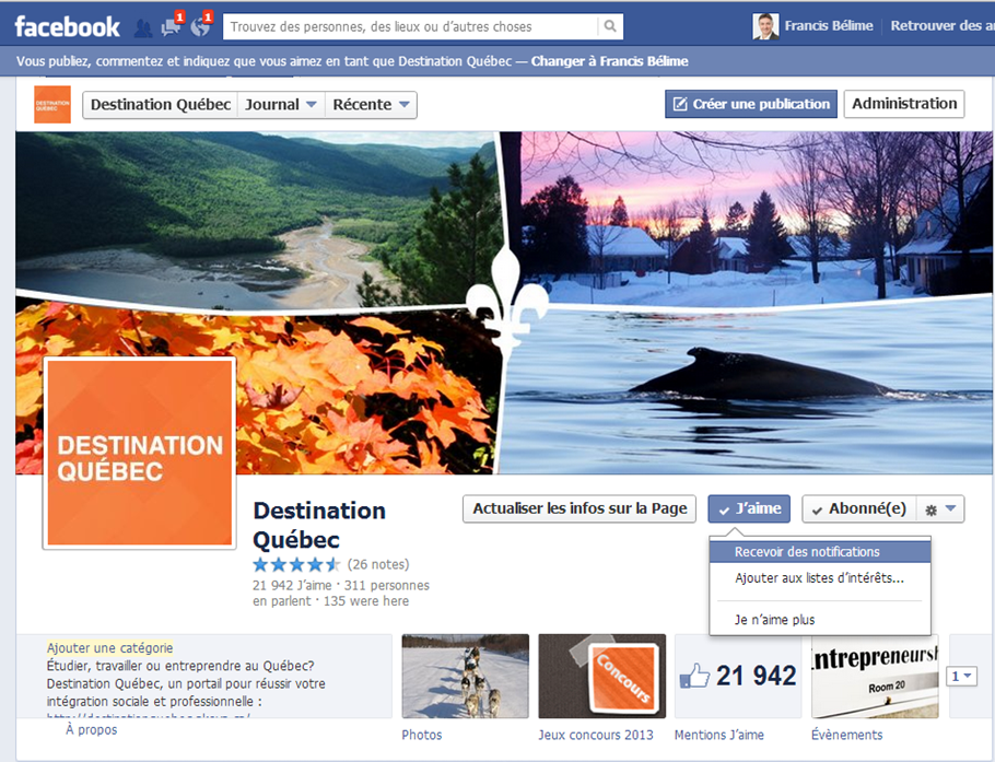 facebook recevoir notification